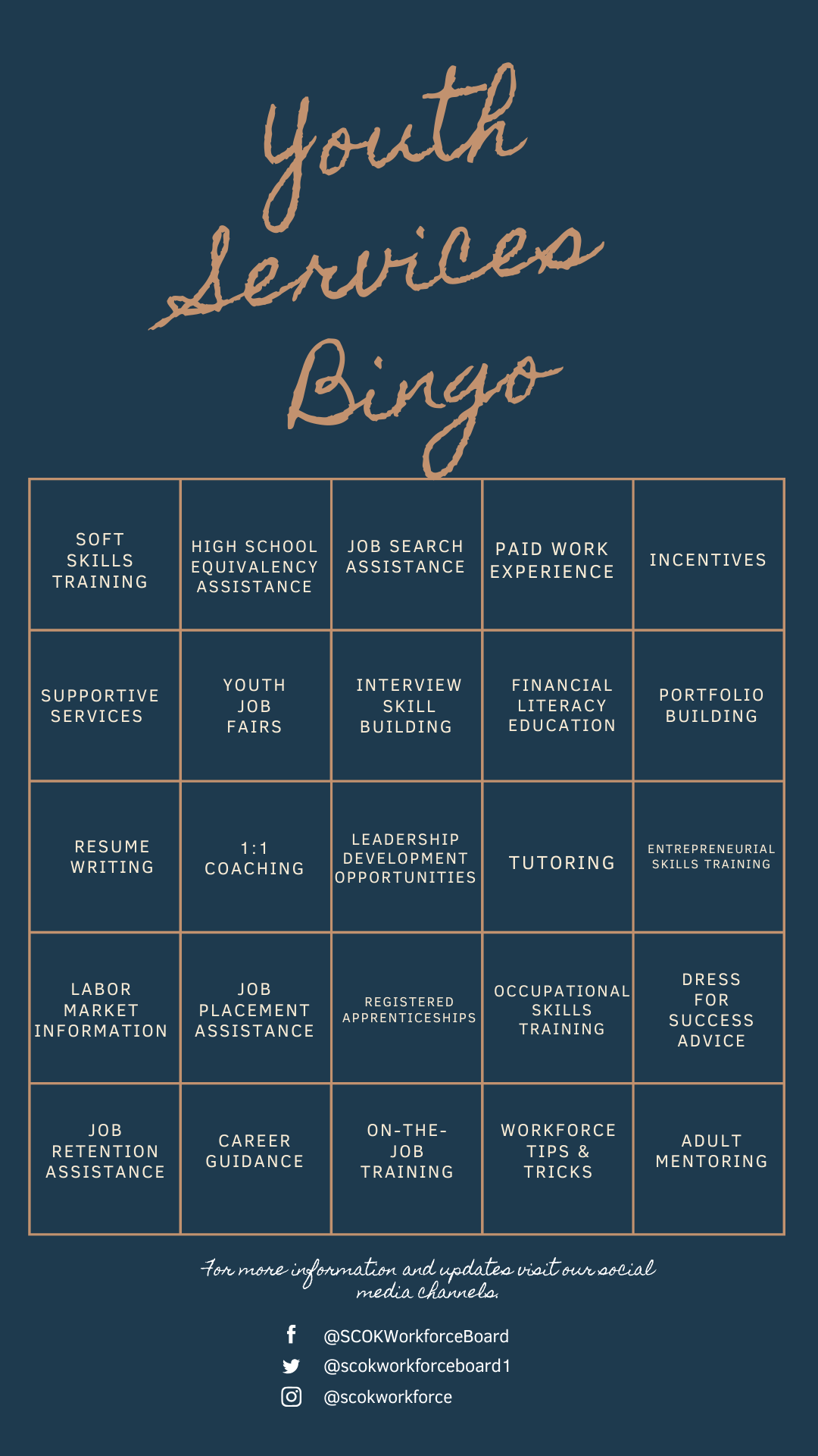 Youth Services Bingo